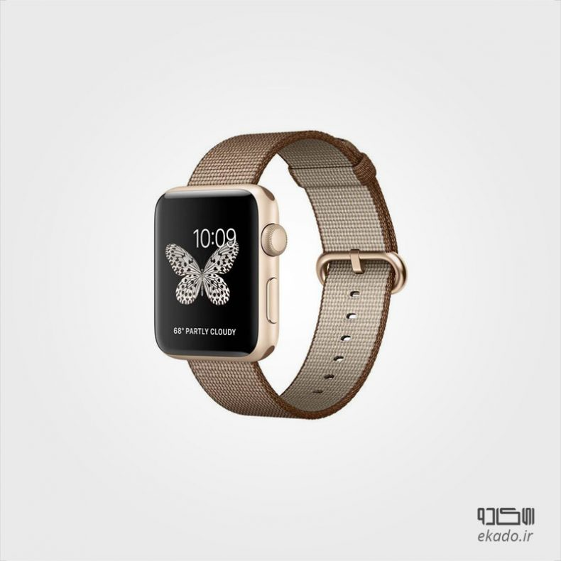 Series 2 Gold Aluminum Case with Toasted Coffee/Caramel Woven Nylon 42 mm